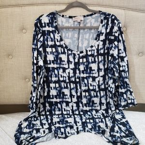 Blue and white Philosophy box top size 1x
